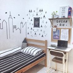 Desain Rumah Vintage Luas 60 m yang Kekinian & Bikin Nyaman! Dorm Room Designs, Home Room Design, Cute Bedroom Decor, Small Room Bedroom, Study Room Decor, Aesthetic Room Decor, Minimalist Room, Cozy Room, Room Inspiration