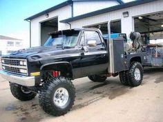 Old School Welding Rig Dually Trucks, Lifted Chevy Trucks, Classic Chevy Trucks, Gm Trucks, Chevrolet Trucks, Diesel Trucks, Cool Trucks, Pickup Trucks, Pickup Camper