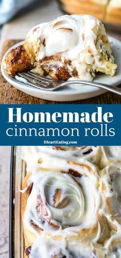 Homemade Cinnamon Rolls Big, soft, gooey cinnamon rolls that are better than cinnabon cinnamon rolls! Cinnabon Cinnamon Roll Cake, Cinnamon Roll Monkey Bread, Cinnamon Roll Casserole, Best Cinnamon Rolls, Cinnamon Roll Cookies, Cinnamon Bread, Frosting Recipes, Dessert Recipes, Sweet Roll Recipe