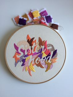 """""""Girl Gang"""" and """"Sisterhood"""" a personal project using phrases that empower women. the lettering is based on ink and brush sketches. 10""""diameter 100% cotton cloth dmc embroidery floss"""
