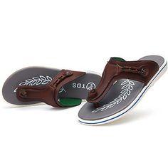 Charming-Fashion-Rose-Knot-Leather-T-Strap-Flip-Flops-Men-Beach-Sandal-Shoes-New