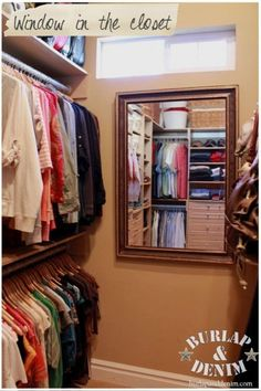 Window for light and fresh air in a closet