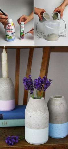 Florero DIY de hormigón - hallo-piepmatz.de - Easy Diy Minimalist Concrete Vase
