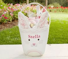 Pink Bunny Felt Easter Treat Bucket #pbkids DIY bucket!