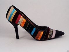 Womens Multicolor Ribbons High Heels Size 8.5 M Vegan #Cantreadit #Stilettos