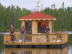 """Is it a pontoon boat? Or is it a gazebo? It's actually a bit of both. Gene Luoma invented this """"Gazeboat,"""" as he calls it, to make life easier for himself, his daughter Kim and his son Brian, all three of whom have muscular dystrophy. Now family and friends all enjoy fun and fishing on the craft. Pictured: Gene, center, with two family friends who were helping Gene with yardwork before they took a fishing break. - Cabin Life Magazine - Photo by Kathie Luoma"""