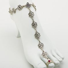 Unique Barefoot Sandal with Sterling Silver Toe Ring- Anklet Toe Ring Combo