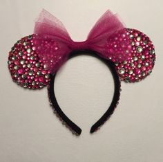 Pretty In Pink Minnie Ears by TaylorMadeOneofAKind on Etsy