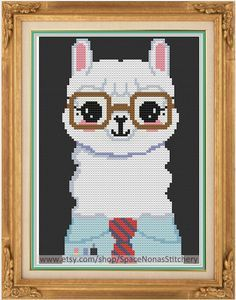 Hipster Alpaca - Cross Stitch Pattern - Downloadable PDF by SpaceNonasStitchery on Etsy https://www.etsy.com/listing/222583608/hipster-alpaca-cross-stitch-pattern