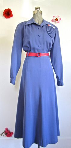 Sz. M-L, 40s Periwinkle Suit Outfit 2 pc Shirt Skirt Rippled Pocket, Gilbert Original, Russel Gowns. $150.00, via Etsy.