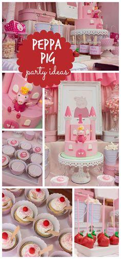 Fête d'anniversaire Peppa Pig avec décorations, cupcakes et un gâteau d'anniversaire magnifique.