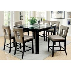 Furniture Of America Evantel 7 Piece Mirror Counter Height Table Set