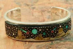 Starry Night at Monument Valley featuring Genuine Picture Japer and Black Jade inlaid in Sterling Silver. Beautiful Fire and Ice Lab Opal Mo...