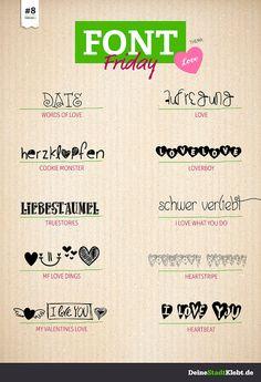 www.deinestadtklebt.de/blog/font-friday-8-love/ Gestalte Sticker mit deiner ganz persönlichen Liebesbotschaft - nicht nur zu Valentinstag eine tolle Idee!