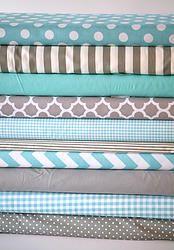 Stokke & crib fitted sheets - aqua & gray. #aqua