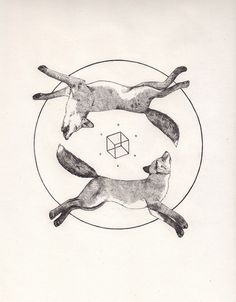 Vintage science journal and geometry inspired animals portraits by Peter Carrington