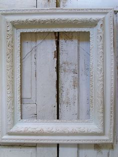 Large painted white antique frame shabby by AnitaSperoDesign, $80.00