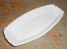 Vintage Dish Milk Glass White Pickle Dish Condiment by TheBackShak