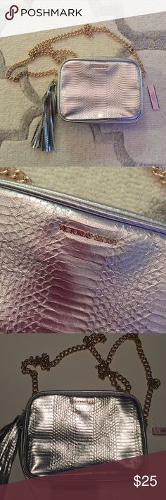 Victoria's Secret snake embossed crossbody bag Victoria's Secret light gold snake embossed crossbody bag with chain strap. One inside compartment. Victoria's Secret Bags Crossbody Bags