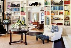 Love the bookcases. All the colors