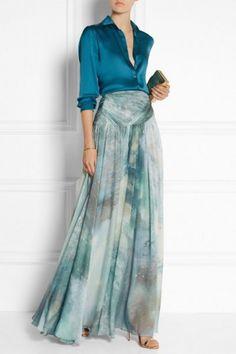Adorable Maxi Skirt Outfits To Impress Everybody 11 Maxi Skirt Outfits, Dress Skirt, Dress Up, Shirt Skirt, Dress Long, Modest Fashion, Fashion Dresses, Chiffon Maxi, Mode Hijab