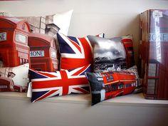 British flag, pillows, red phone box