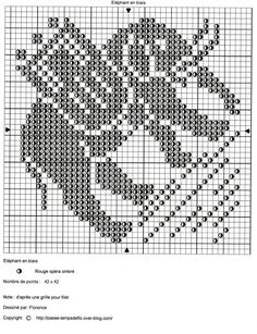 elephant on the bias Elephant Cross Stitch, Cross Stitch Animals, Filet Crochet Charts, Knitting Charts, Cross Stitch Freebies, Crochet Curtains, Charts And Graphs, C2c, Double Knitting