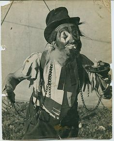 Old photo of an unusual looking circus clown. I wish I knew more about this man, and the origins of this picture.