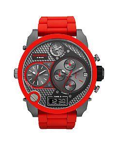 Diesel Men's Gunmetal Stainless Steel and Red Silicone Multifunction Watch #belk #gifts #watch