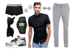"""blk&grey"" by alli5tat on Polyvore featuring ASOS, William Rast, Kobelli, NIKE, Casio, Calvin Klein Underwear and Ray-Ban"