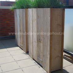 Steigerhouten plantenbak loungeset tafels for Schutting intratuin