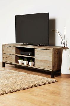 Buy Bronx Wide TV Stand from the Next UK online shop Ikea Living Room, Living Room Modern, Living Room Furniture, Living Room Designs, Tv Cabinet Design Modern, Rustic Tv Unit, Tv Cupboard, Tv Wall Cabinets, Living Room Lighting