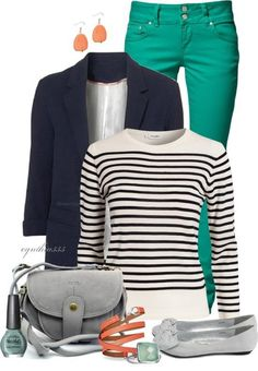 Early spring outfit-with red jeans and navy stripes?