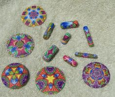 https://flic.kr/p/ckABpS | Kaleidoscope pendants & beads | My practices pendants from Carol Simmons Racine Workshop 2012 June