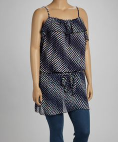 Take a look at this Navy Rainbow Dots Ruffled Peplum Tank - Plus by Yummy on #zulily today! $25 !!