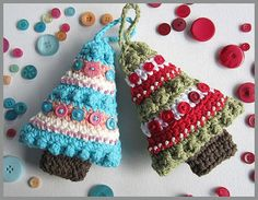 Christmas Tree Ornament With Bead and by HandandHookCrochet