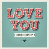 Happy Valentines day card, i love you, font type, 3 dimensional, vintage retro stock photography