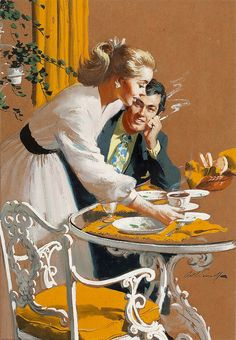 Arthur Sarnoff (I wonder if the stinky smoke is getting in her face?)