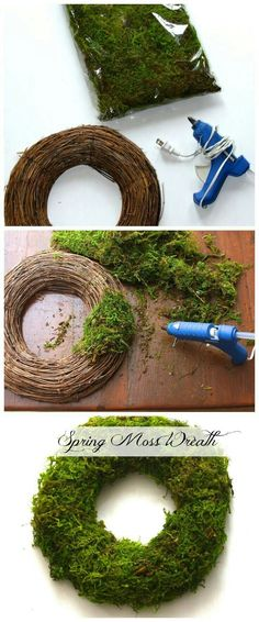 How to make a Moss Wreath. by How to make a Moss Wreath. Wreath Crafts, Diy Wreath, Diy Crafts, Wreath Ideas, Easter Wreaths, Christmas Wreaths, Christmas Decorations, Green Christmas, Moss Wreath