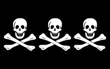 Christopher Condent's Jolly Roger consisted of 3 sets of jawbone-less skulls and crossbones. He left the Bahamas when Woodes Rogers became governor of the island. He went on to cruise the Indian Coast and the Red Sea. In 1720, near Bombay, Condent and his crew captured a huge Arab ship, which contained an abundance of treasure and valuables, to the tune of 150,000 pounds. In an attempt not to further enrage the East India Company, Condent's crew were ordered not to abuse crew or passengers.