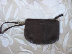 Nine West Brown Faux Leather Clutch Purse Makeup Cosmetic Bag Wristlet