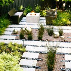 Serene outdoor space. Rectangular pavers, desert landscaping, clean lines. Relaxes me just looking at it.