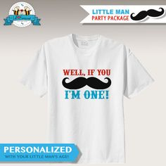Little Man Mustache Bash Birthday Party Mustache T-Shirt Iron on Transfer Personalized with Age - Printable iron on transfer