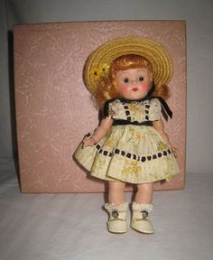 "LTD TOY STAMP & 1950-53 VOGUE DOLLS 8"" HP STRUNG GINNY DOLL IN TAGGED DRESS NMIB"