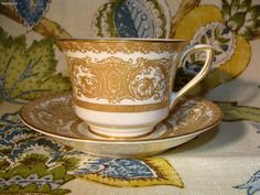 "Royal Worcester ""Embassy"" Pattern Gilded tea Cup & Saucer"