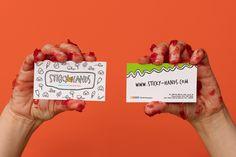 Sticky hands by MIUNA - Business card