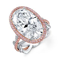 Oval Diamond Ring - Our stunning 10.92ct Oval Diamond Ring accented with Fancy Pink and White Melee set in 18k Rose Gold & Platinum.