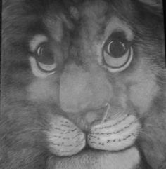 graphite portrait of a lion, 24x18. by 1bluwall on Etsy