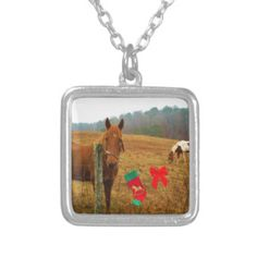 Christmas Horse with bow and stocking Pendants