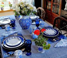 Plum Creek Place: Red, White, and Mostly Blue Tablescape